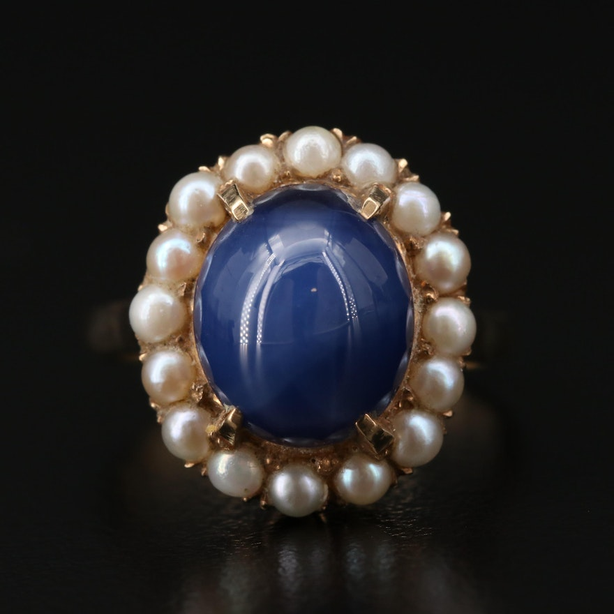 14K Yellow Gold Synthetic Star Sapphire and Seed Pearl Ring