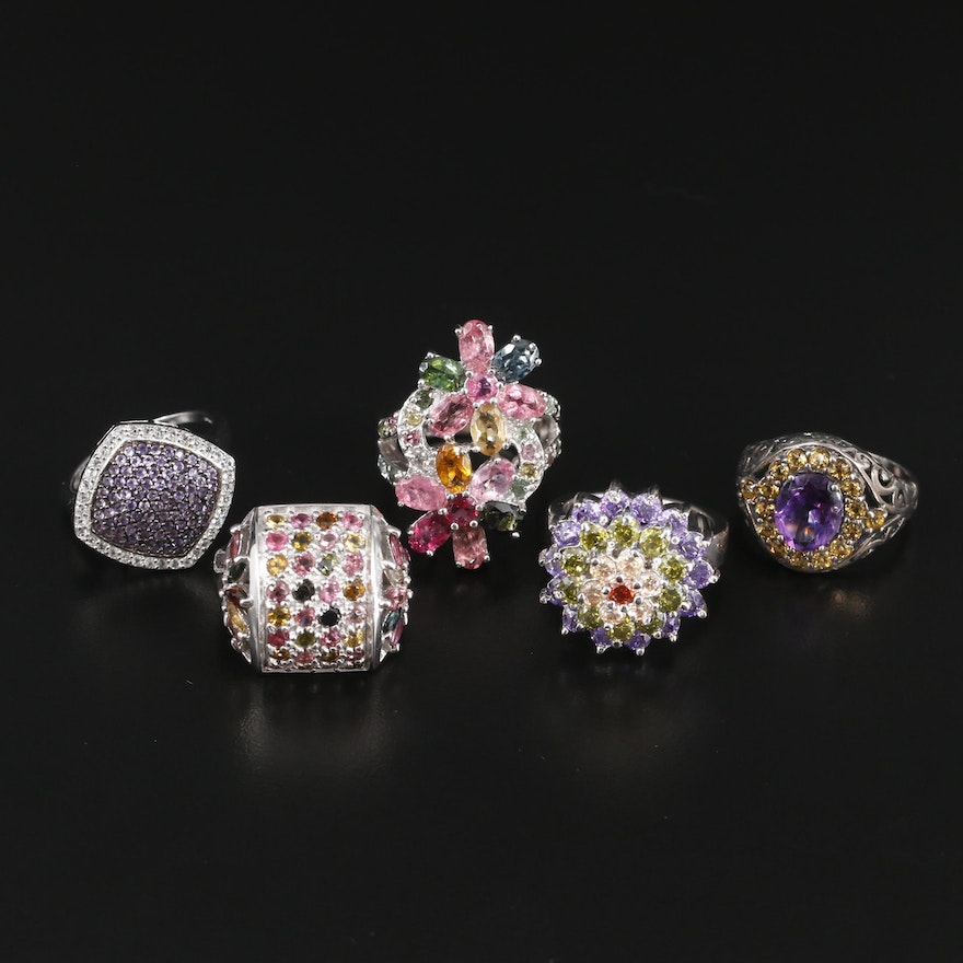 Sterling Silver Gemstone Rings Including Amethyst, Tourmaline and Cubic Zirconia