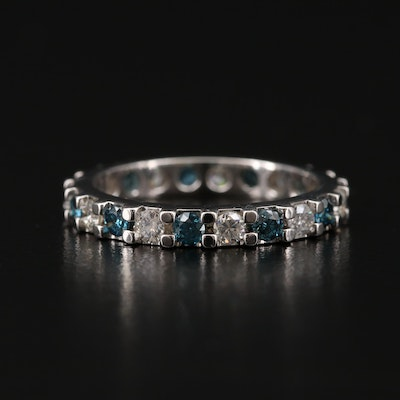 Platinum Diamond Eternity Band with Blue Diamonds