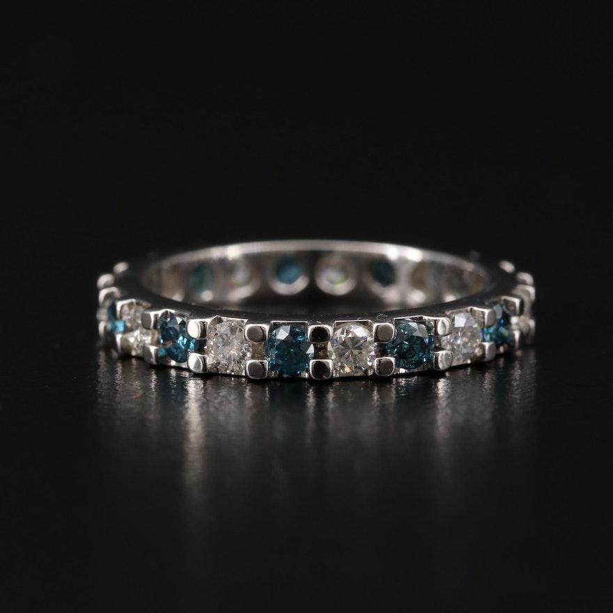 Platinum Diamond Eternity Band with Blue Diamonds