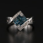 14K Diamond Bypass Ring Featuring Blue Diamonds