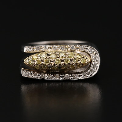 Modernist 18K White Gold Diamond Ring