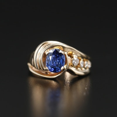 14K Yellow Gold 1.27 CT Sapphire and Diamond Ring