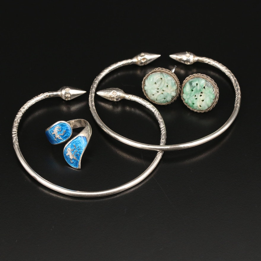 Sterling Silver Ring, Earrings, and Cuff Bracelets Featuring Enamel and Nephrite