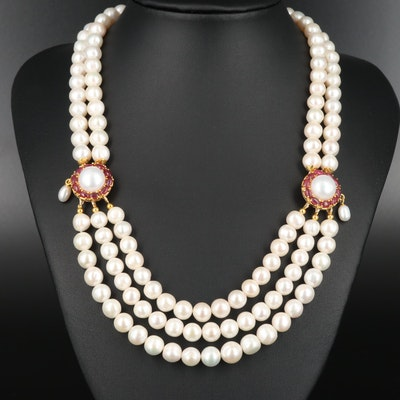 Sterling Silver Cultured Pearl and Corundum Multi-Strand Station Necklace