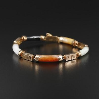 14K Yellow Gold Carved Jadeite and Black Onyx Greek Key Bracelet