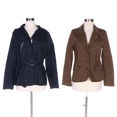 Theory Hooded Rain Jacket and Juicy Couture Jeans Jacket with Lace Trim