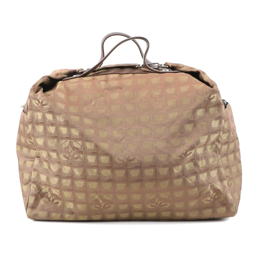 Chanel Travel Line Duffel Bag in Brown CC Nylon Jacquard and Leather