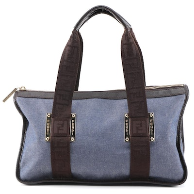 Fendi Blue Denim and Brown Leather East West Handbag