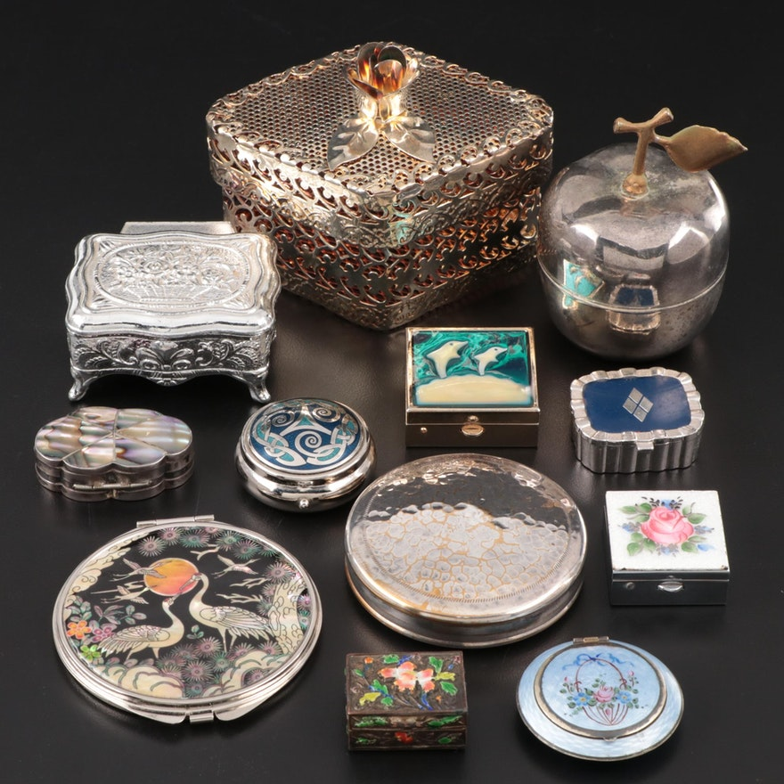 Mexican Sterling Silver Box with Other Gold & Silver Tone Boxes and More