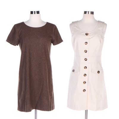 Milly New York Fitted Sleeveless Dress and Theory Wool Blend Shift Dress