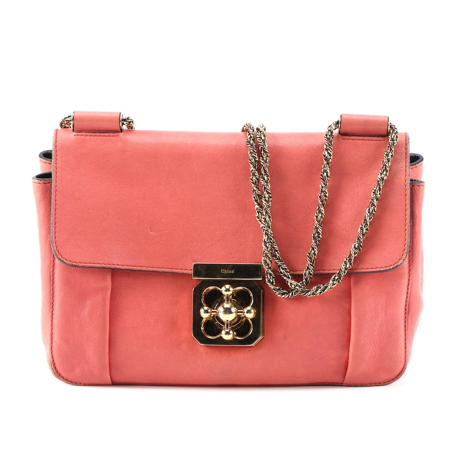Chloé Elsie Chain Shoulder Bag in Coral Orange Leather with Chain Strap