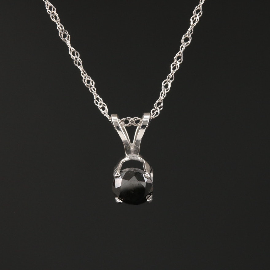 14K Gold 0.47 CT Black Diamond Necklace