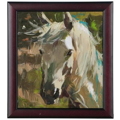 """Adam Deda Equine Oil Painting """"White Horse"""""""