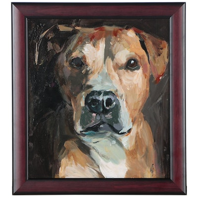 "Adam Deda Dog Oil Portrait ""Pitbull"""