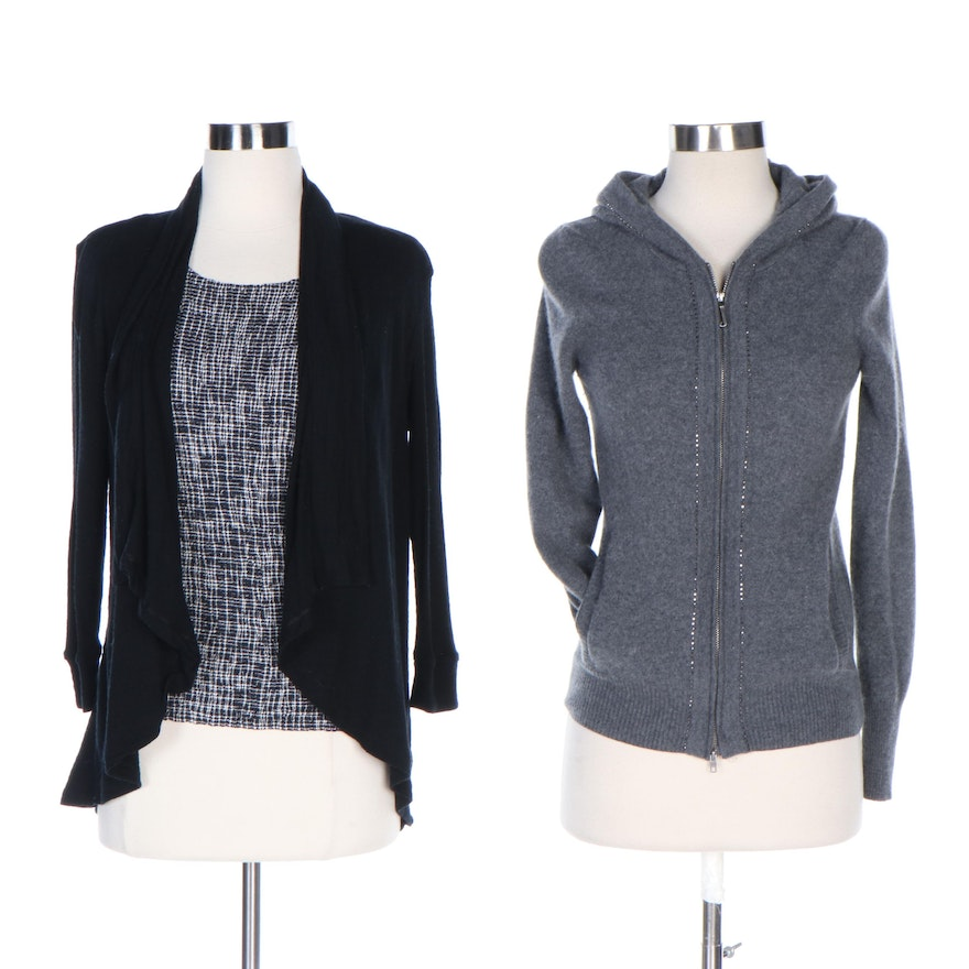 Armani Collezioni Tank Top, Theory Cardigan and Juicy Couture Cashmere Hoodie