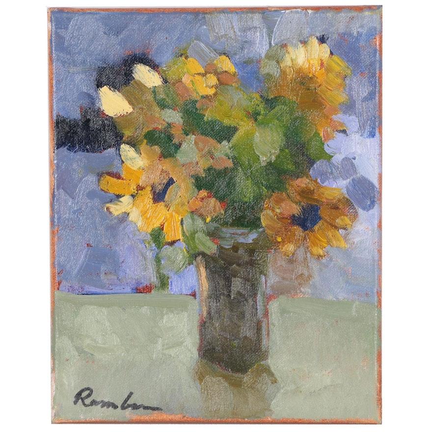 Sally Rosenbaum Impressionist Oil Painting of Floral Still Life