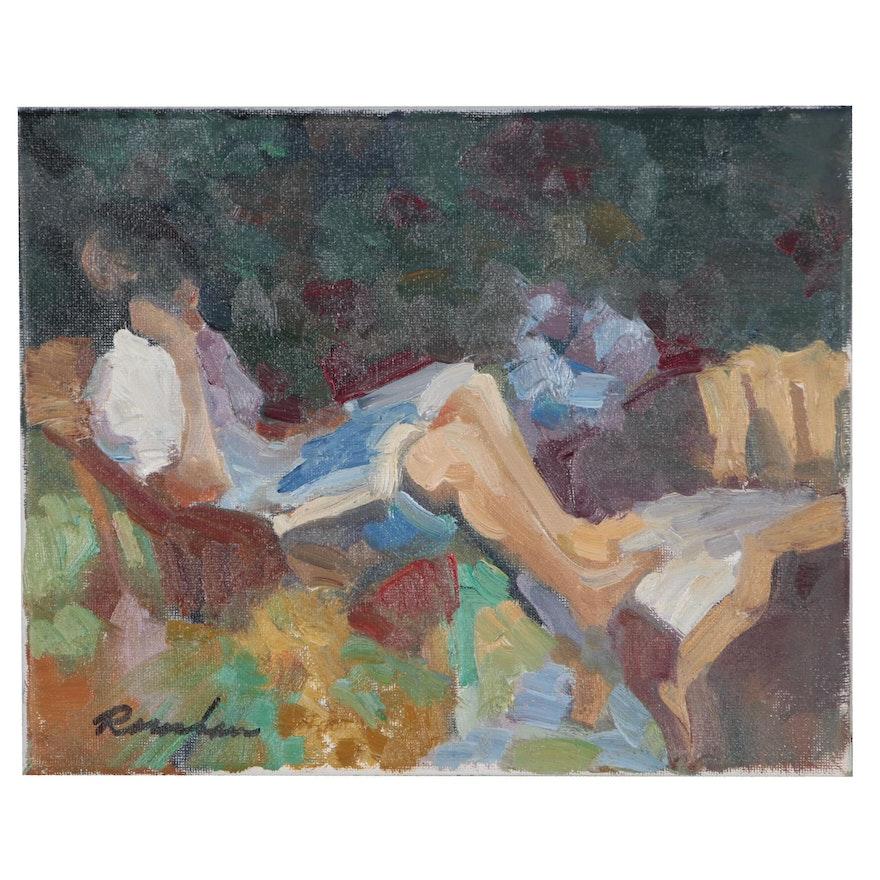 Sally Rosenbaum Oil Painting of Resting Figure