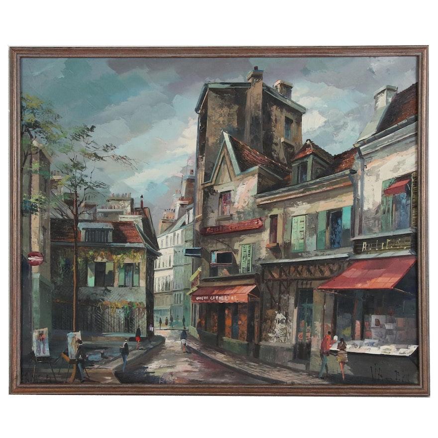 Oil Painting of a Parisian Street Scene