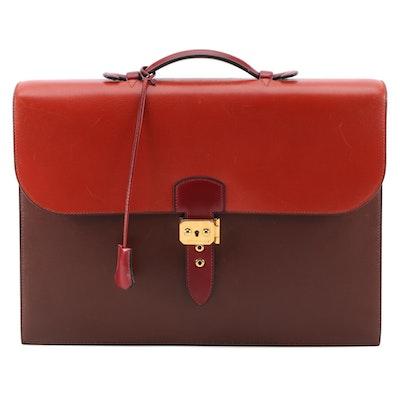 Hermès Multi-Tonal Box Calf Leather Briefcase