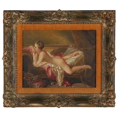 """Otto Schulze Oil Painting after François Boucher """"Ruhendes Mädchen"""""""