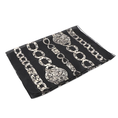 Envelope Clutch with Leather Fringe by Bam Forever with Chain Print Scarf