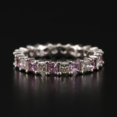 14K White Gold 1.26 CTW Diamond and Sapphire Eternity Band