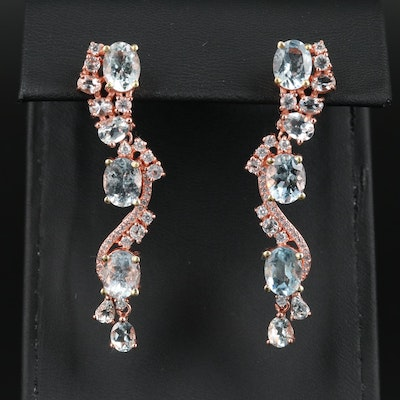 Sterling Silver Aquamarine and Cubic Zirconia Earrings