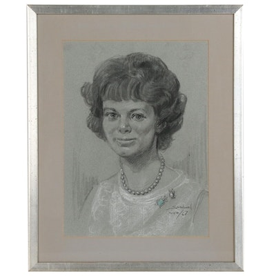Charcoal Drawing Portrait of a Woman, 1967