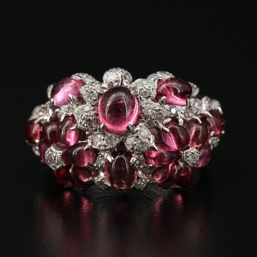 14K White Gold Tourmaline and Diamond Floral Cluster Ring