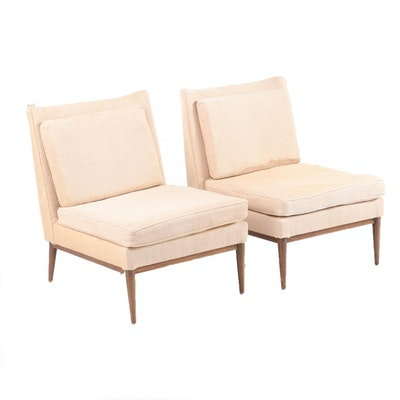 Pair of Paul McCobb for Custom Craft Upholstered Walnut Slipper Chairs