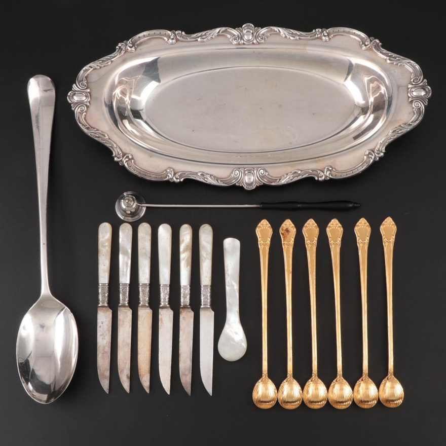 Gorham Sterling Silver Snuffer with Other Silver Plate Serveware and Utensils