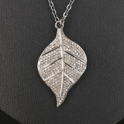 Sterling Silver Pavé Diamond Leaf Pendant Necklace