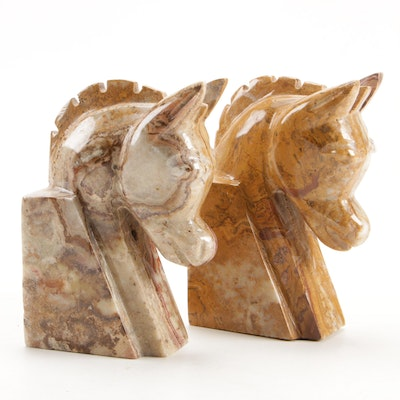 Pair of Polished Marble Horse Head Bookends