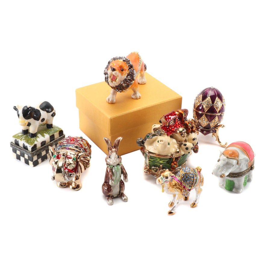 Sara D. Ward and Other Enamel and Rhinestone Animal Themed Trinket Boxes