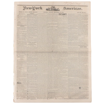 """New-York American"" Newspaper Vol. XXI #3748, 21 September 1839"