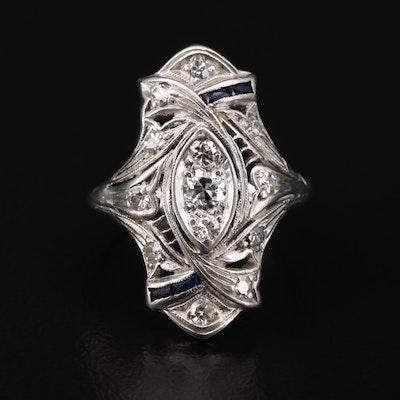 Edwardian Katz & Ogush Inc. Platinum Diamond and Synthetic Sapphire Ring