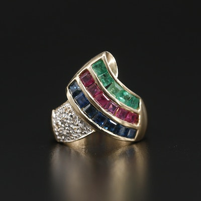 14K Yellow Gold Sapphire, Ruby, Emerald and Diamond Ring