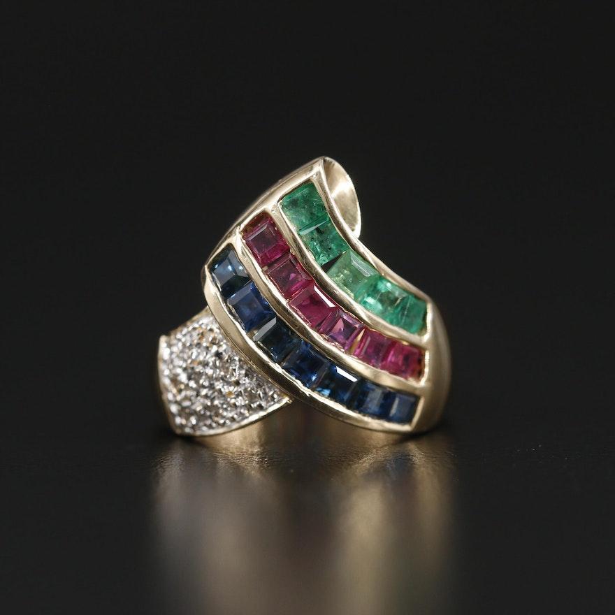 14K Yellow Gold Sapphire, Ruby, Emerald and Diamond Ring