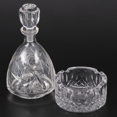 American Brilliant Style Pressed Glass Decanter and Glass Ashtray
