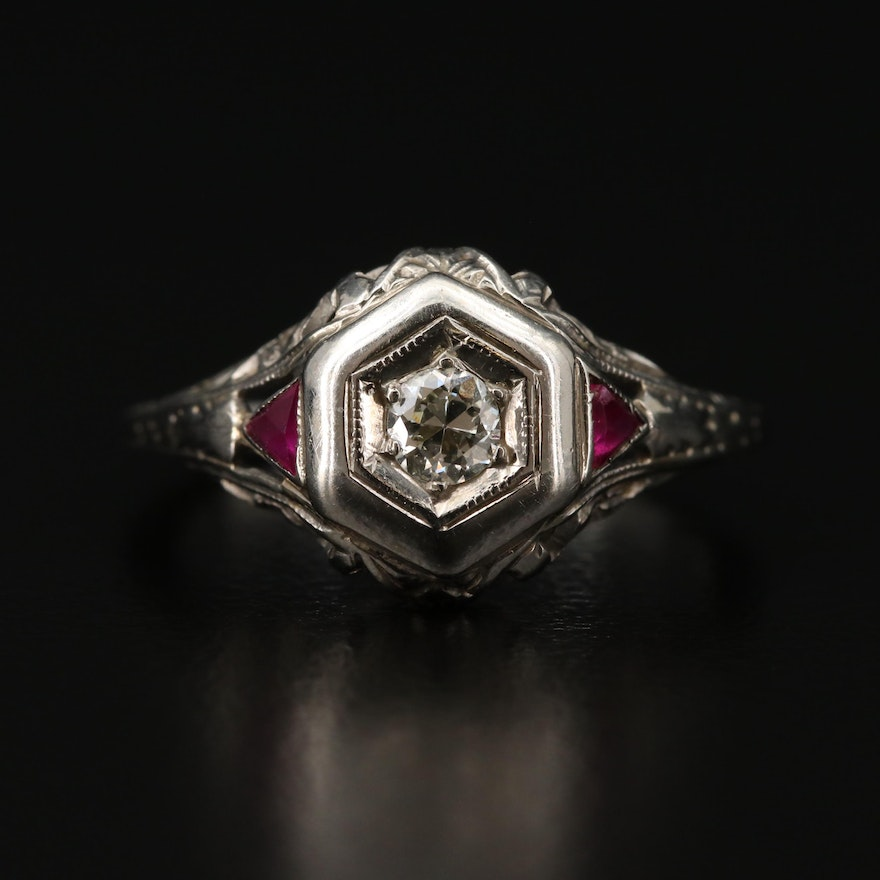 Art Deco 18K White Gold Diamond and Synthetic Ruby Ring