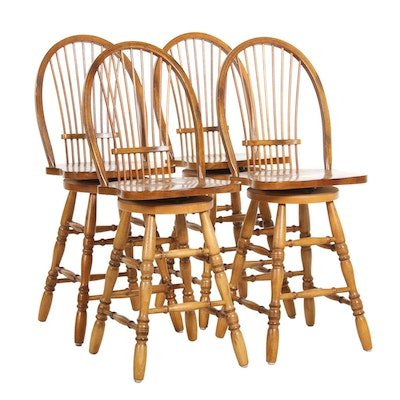 Windsor Style Spindle-Back Hardwood Swivel Bar Stools