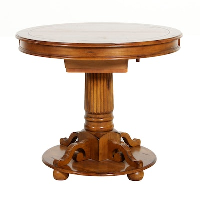 High Top Pedestal Table with Integral Leaf