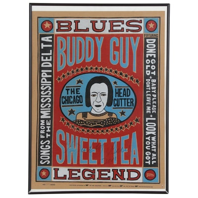 Buddy Guy Signed Yee-Haw Industries Letterpress Poster, 2001
