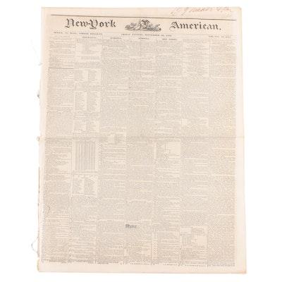 """""""New-York American"""" Newspaper Vol. XXI #3747, 20 September 1839"""