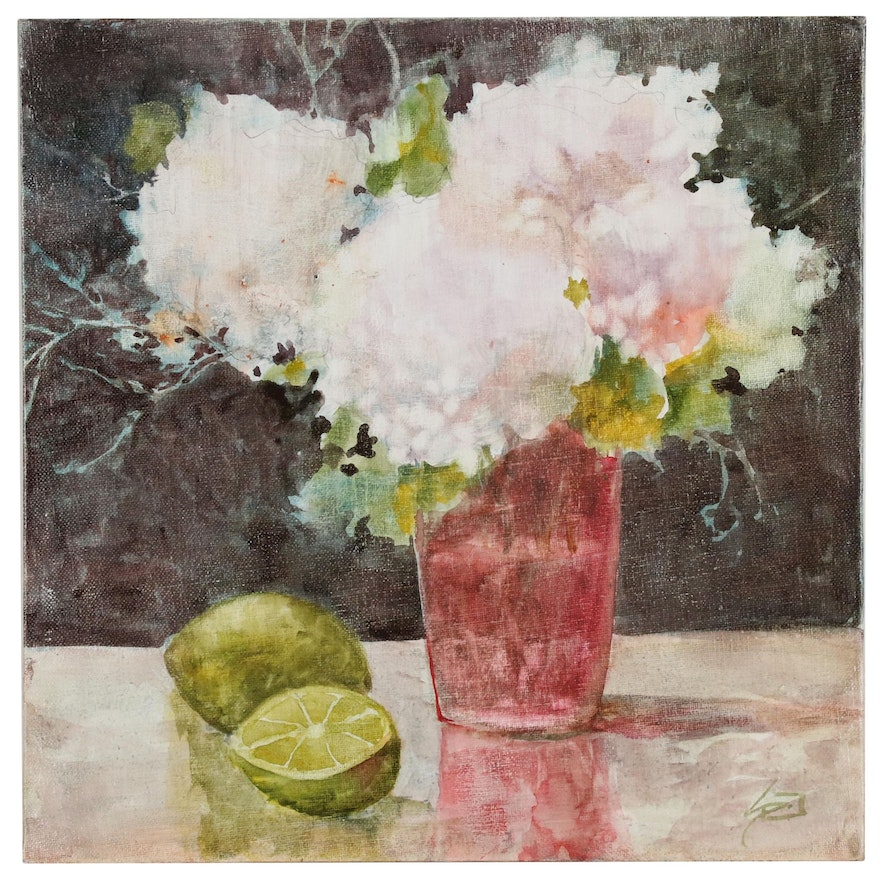 "Sue Dion Oil Painting ""Hydrangea and Lime"""