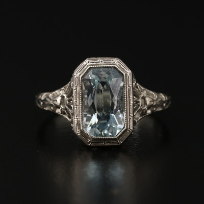 1930s 14K White Gold Aquamarine Ring
