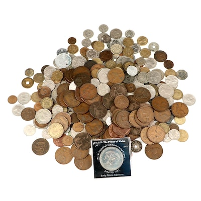 363 Vintage Foreign Coins, Including Silver