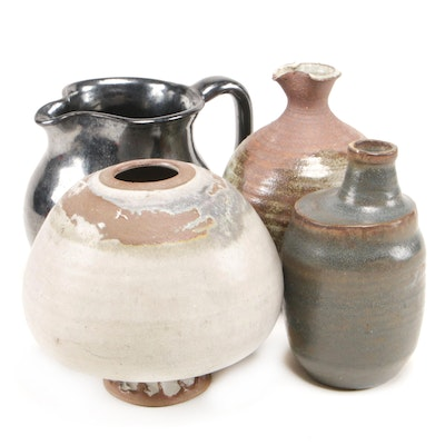 Bloomfield Pottery Metallic Glaze Pitcher with Other Studio Pottery Vases