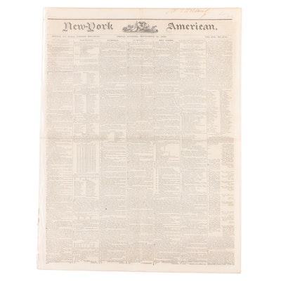 """""""New-York American"""" Newspaper Vol. XXI #3741, 13 September 1839"""